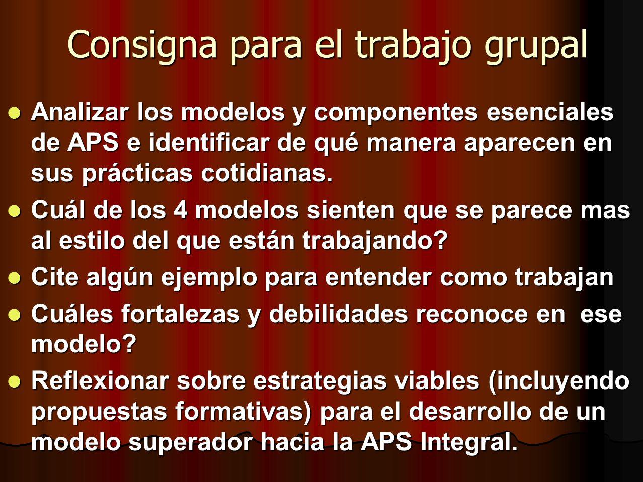 Consigna para el trabajo grupal Analizar los modelos y componentes esenciales de APS e identificar de qué manera aparecen en sus prácticas cotidianas.