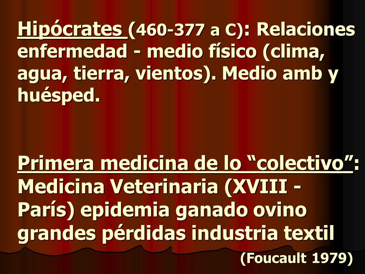 Hipócrates ( 460-377 a C) : Relaciones enfermedad - medio físico (clima, agua, tierra, vientos). Medio amb y huésped. Primera medicina de lo colectivo