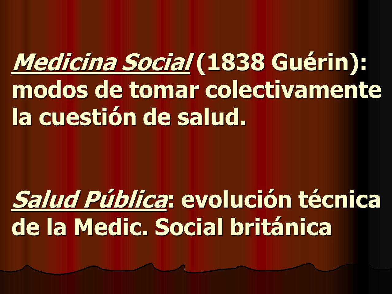 Medicina Social (1838 Guérin): modos de tomar colectivamente la cuestión de salud. Salud Pública: evolución técnica de la Medic. Social británica