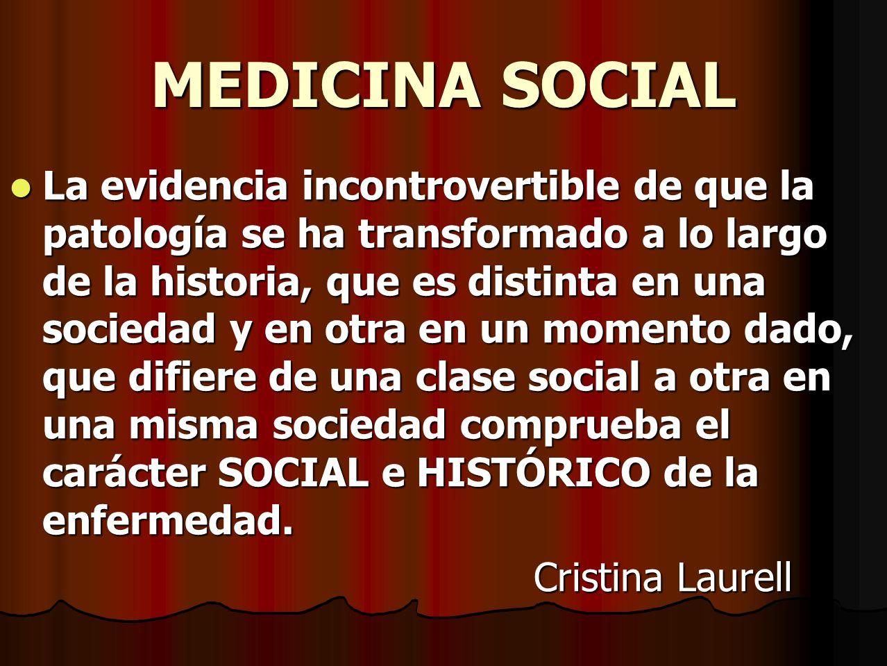 MEDICINA SOCIAL La evidencia incontrovertible de que la patología se ha transformado a lo largo de la historia, que es distinta en una sociedad y en o