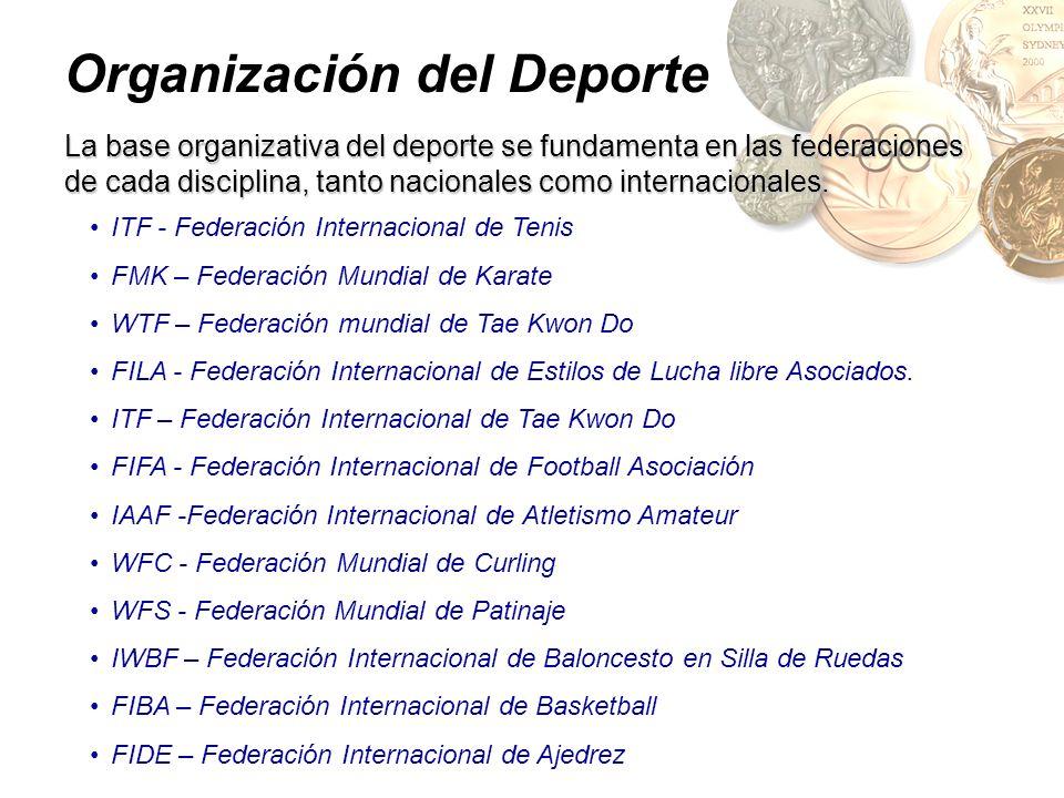 Organización del Deporte La base organizativa del deporte se fundamenta en las federaciones de cada disciplina, tanto nacionales como internacionales.