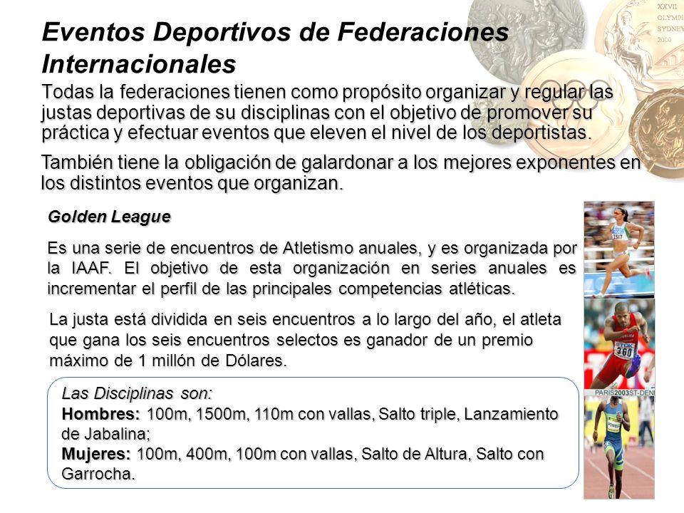 Eventos Deportivos de Federaciones Internacionales Todas la federaciones tienen como propósito organizar y regular las justas deportivas de su discipl