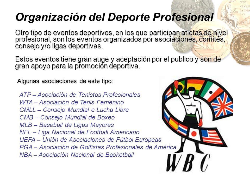 Organización del Deporte Profesional Otro tipo de eventos deportivos, en los que participan atletas de nivel profesional, son los eventos organizados