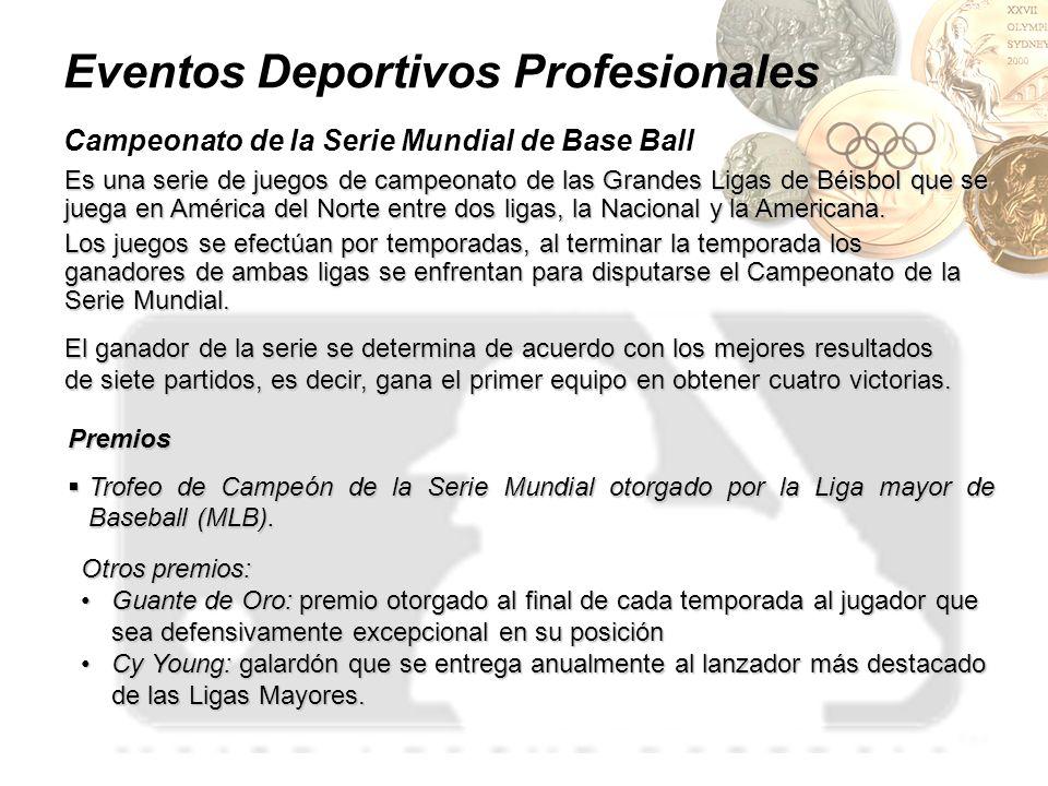 Eventos Deportivos Profesionales Campeonato de la Serie Mundial de Base Ball Es una serie de juegos de campeonato de las Grandes Ligas de Béisbol que