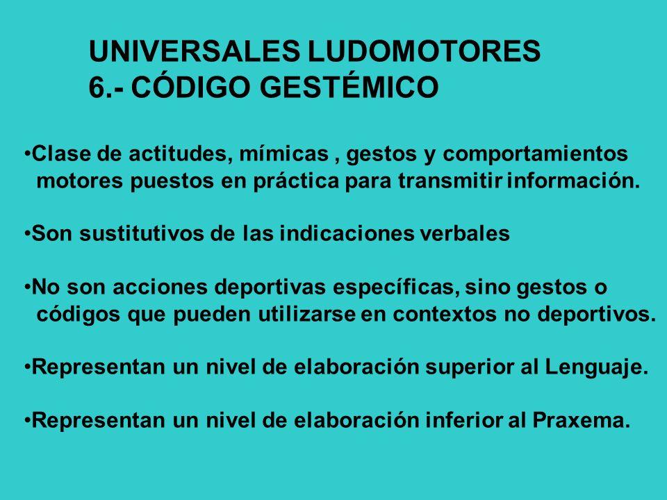 UNIVERSALES LUDOMOTORES 6.- CÓDIGO GESTÉMICO Clase de actitudes, mímicas, gestos y comportamientos motores puestos en práctica para transmitir información.