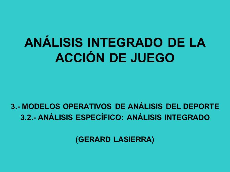 ANÁLISIS INTEGRADO DE LA ACCIÓN DE JUEGO 3.- MODELOS OPERATIVOS DE ANÁLISIS DEL DEPORTE 3.2.- ANÁLISIS ESPECÍFICO: ANÁLISIS INTEGRADO (GERARD LASIERRA)