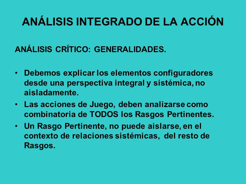 ANÁLISIS INTEGRADO DE LA ACCIÓN ANÁLISIS CRÍTICO: GENERALIDADES.