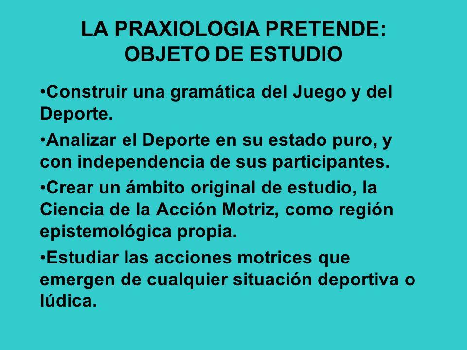 LA PRAXIOLOGIA PRETENDE: OBJETO DE ESTUDIO Construir una gramática del Juego y del Deporte.