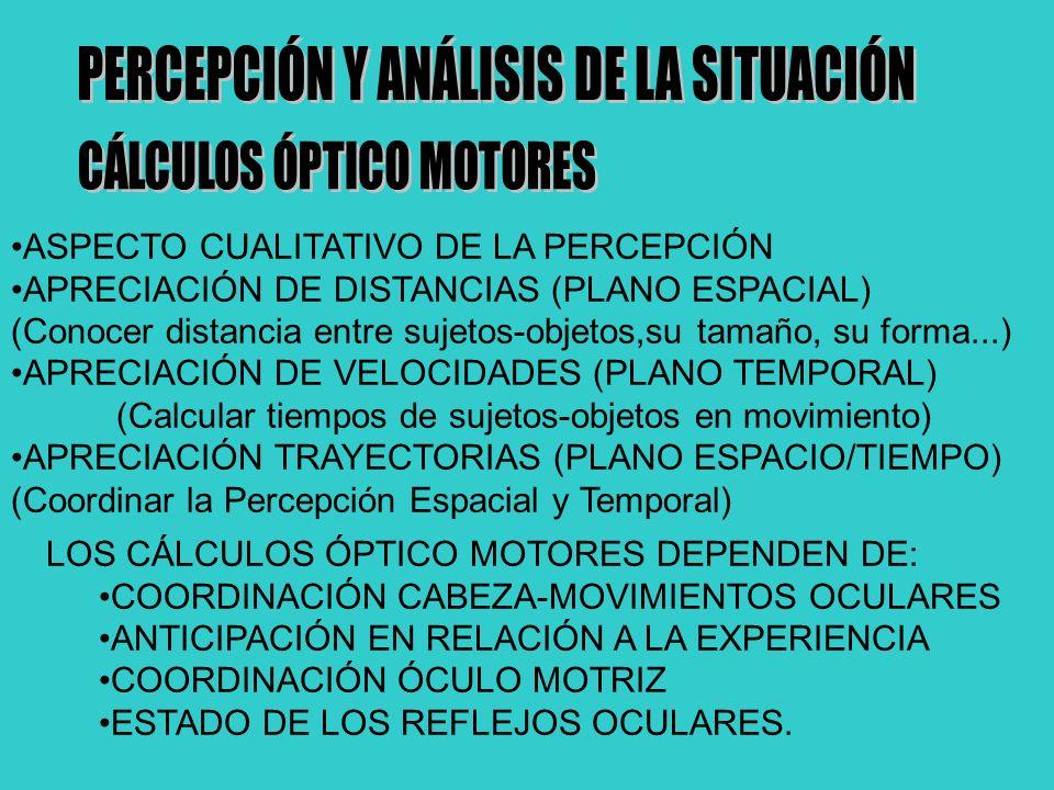 ASPECTO CUALITATIVO DE LA PERCEPCIÓN APRECIACIÓN DE DISTANCIAS (PLANO ESPACIAL) (Conocer distancia entre sujetos-objetos,su tamaño, su forma...) APRECIACIÓN DE VELOCIDADES (PLANO TEMPORAL) (Calcular tiempos de sujetos-objetos en movimiento) APRECIACIÓN TRAYECTORIAS (PLANO ESPACIO/TIEMPO) (Coordinar la Percepción Espacial y Temporal) LOS CÁLCULOS ÓPTICO MOTORES DEPENDEN DE: COORDINACIÓN CABEZA-MOVIMIENTOS OCULARES ANTICIPACIÓN EN RELACIÓN A LA EXPERIENCIA COORDINACIÓN ÓCULO MOTRIZ ESTADO DE LOS REFLEJOS OCULARES.