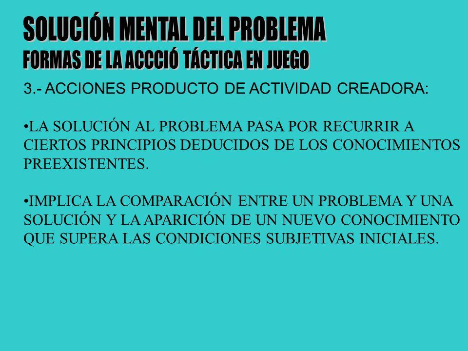 3.- ACCIONES PRODUCTO DE ACTIVIDAD CREADORA: LA SOLUCIÓN AL PROBLEMA PASA POR RECURRIR A CIERTOS PRINCIPIOS DEDUCIDOS DE LOS CONOCIMIENTOS PREEXISTENTES.
