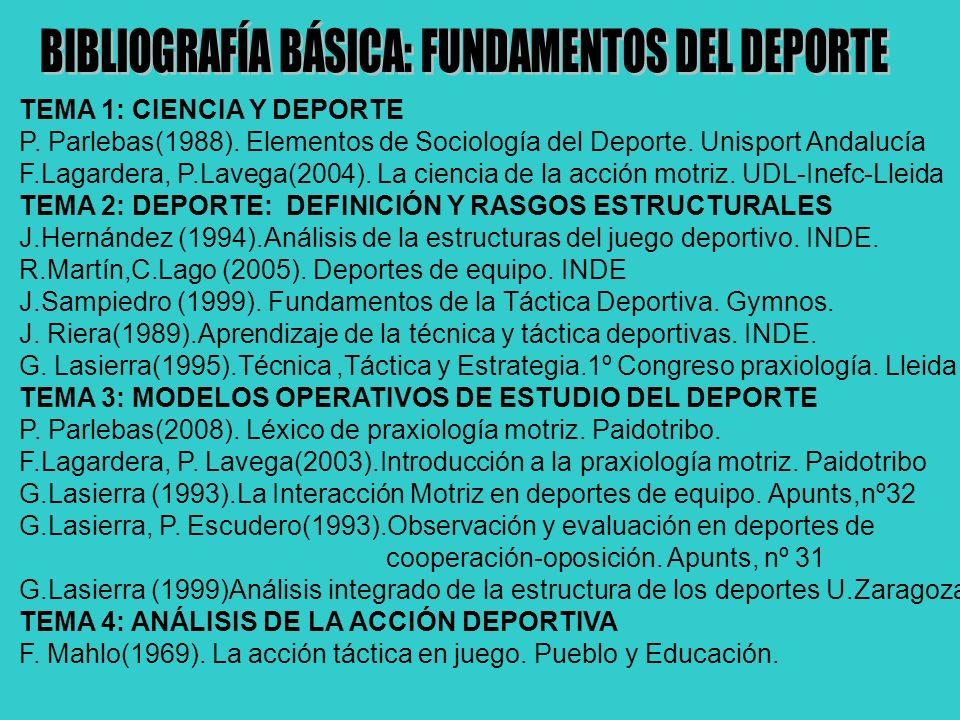 TEMA 1: CIENCIA Y DEPORTE P.Parlebas(1988). Elementos de Sociología del Deporte.