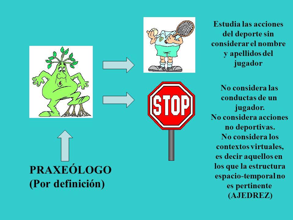 PRAXEÓLOGO (Por definición) Estudia las acciones del deporte sin considerar el nombre y apellidos del jugador No considera las conductas de un jugador.