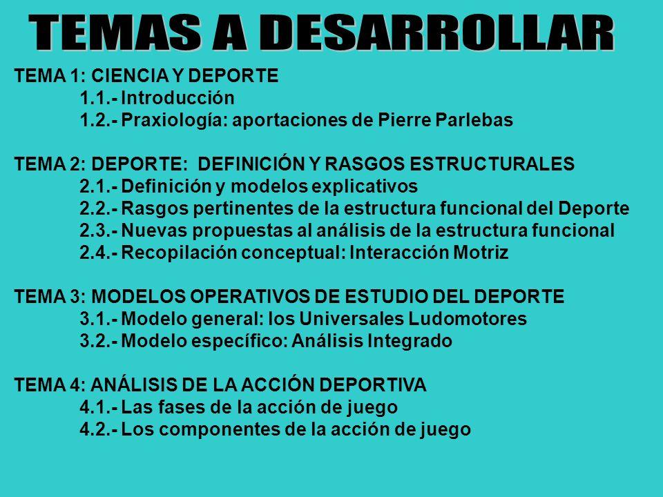 TEMA 1: CIENCIA Y DEPORTE 1.1.- Introducción 1.2.- Praxiología: aportaciones de Pierre Parlebas TEMA 2: DEPORTE: DEFINICIÓN Y RASGOS ESTRUCTURALES 2.1.- Definición y modelos explicativos 2.2.- Rasgos pertinentes de la estructura funcional del Deporte 2.3.- Nuevas propuestas al análisis de la estructura funcional 2.4.- Recopilación conceptual: Interacción Motriz TEMA 3: MODELOS OPERATIVOS DE ESTUDIO DEL DEPORTE 3.1.- Modelo general: los Universales Ludomotores 3.2.- Modelo específico: Análisis Integrado TEMA 4: ANÁLISIS DE LA ACCIÓN DEPORTIVA 4.1.- Las fases de la acción de juego 4.2.- Los componentes de la acción de juego