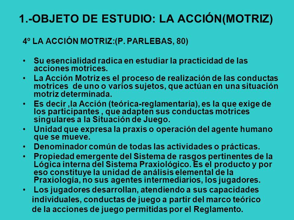 1.-OBJETO DE ESTUDIO: LA ACCIÓN(MOTRIZ) 4º LA ACCIÓN MOTRIZ:(P.