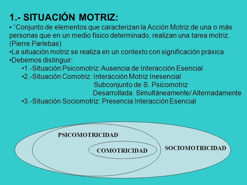 1.- SITUACIÓN MOTRIZ: Conjunto de elementos que caracterizan la Acción Motriz de una o más personas que en un medio físico determinado, realizan una tarea motriz.