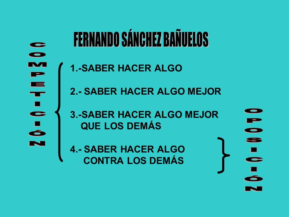 1.-SABER HACER ALGO 2.- SABER HACER ALGO MEJOR 3.-SABER HACER ALGO MEJOR QUE LOS DEMÁS 4.- SABER HACER ALGO CONTRA LOS DEMÁS