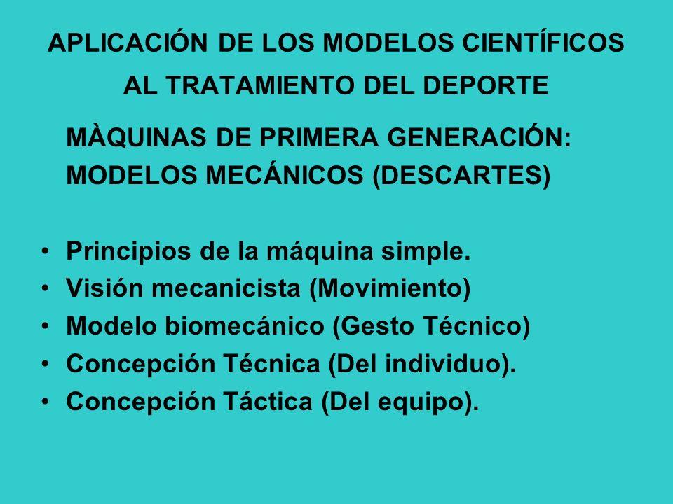 APLICACIÓN DE LOS MODELOS CIENTÍFICOS AL TRATAMIENTO DEL DEPORTE MÀQUINAS DE PRIMERA GENERACIÓN: MODELOS MECÁNICOS (DESCARTES) Principios de la máquina simple.