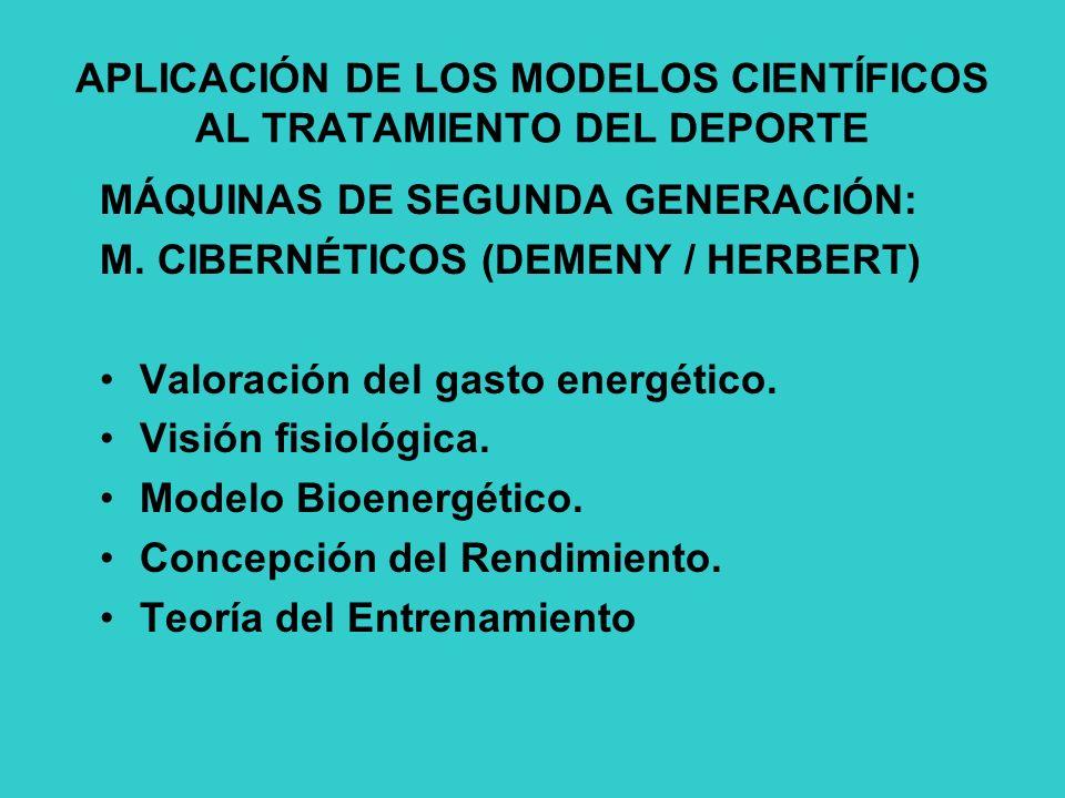 APLICACIÓN DE LOS MODELOS CIENTÍFICOS AL TRATAMIENTO DEL DEPORTE MÁQUINAS DE SEGUNDA GENERACIÓN: M.