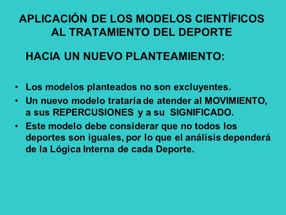 APLICACIÓN DE LOS MODELOS CIENTÍFICOS AL TRATAMIENTO DEL DEPORTE HACIA UN NUEVO PLANTEAMIENTO: Los modelos planteados no son excluyentes.