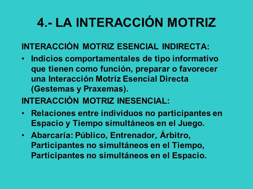 4.- LA INTERACCIÓN MOTRIZ INTERACCIÓN MOTRIZ ESENCIAL INDIRECTA: Indicios comportamentales de tipo informativo que tienen como función, preparar o favorecer una Interacción Motriz Esencial Directa (Gestemas y Praxemas).