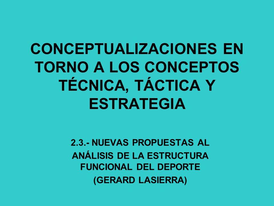 CONCEPTUALIZACIONES EN TORNO A LOS CONCEPTOS TÉCNICA, TÁCTICA Y ESTRATEGIA 2.3.- NUEVAS PROPUESTAS AL ANÁLISIS DE LA ESTRUCTURA FUNCIONAL DEL DEPORTE (GERARD LASIERRA)
