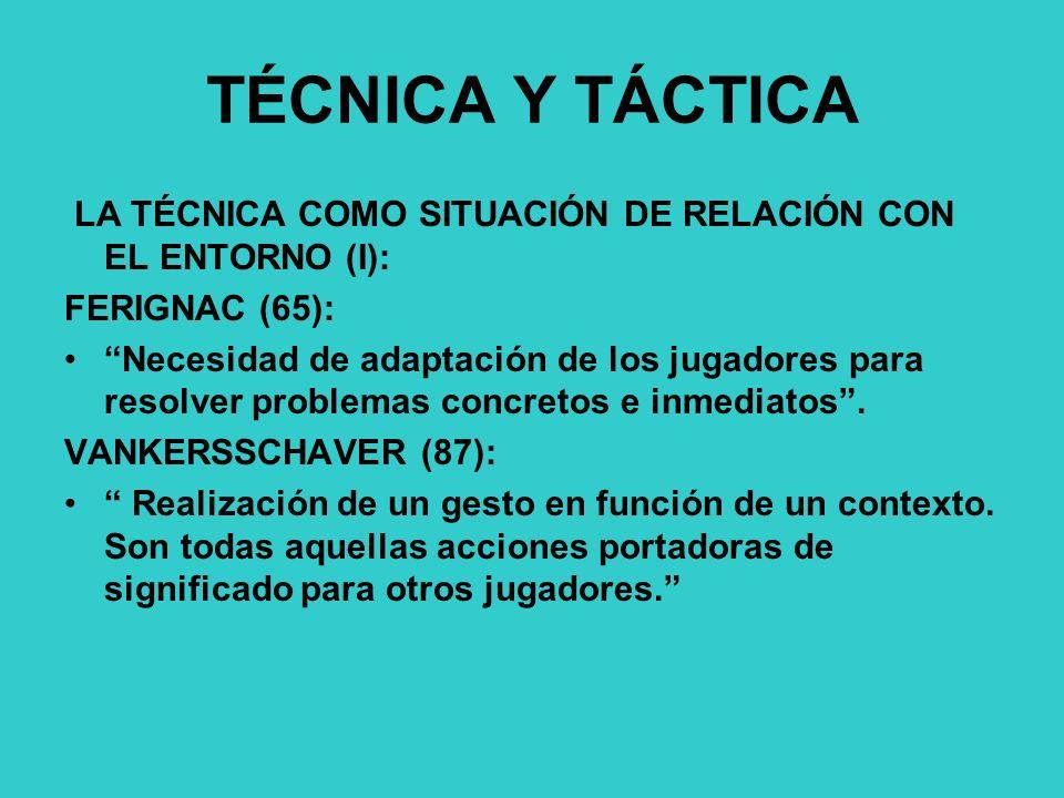 TÉCNICA Y TÁCTICA LA TÉCNICA COMO SITUACIÓN DE RELACIÓN CON EL ENTORNO (I): FERIGNAC (65): Necesidad de adaptación de los jugadores para resolver problemas concretos e inmediatos.