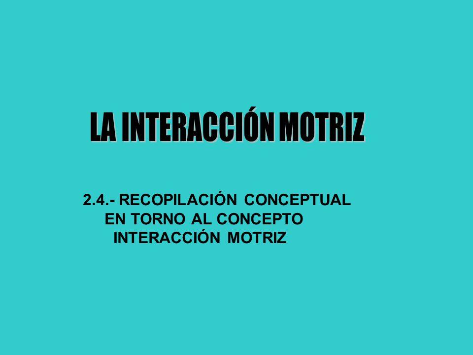 2.4.- RECOPILACIÓN CONCEPTUAL EN TORNO AL CONCEPTO INTERACCIÓN MOTRIZ