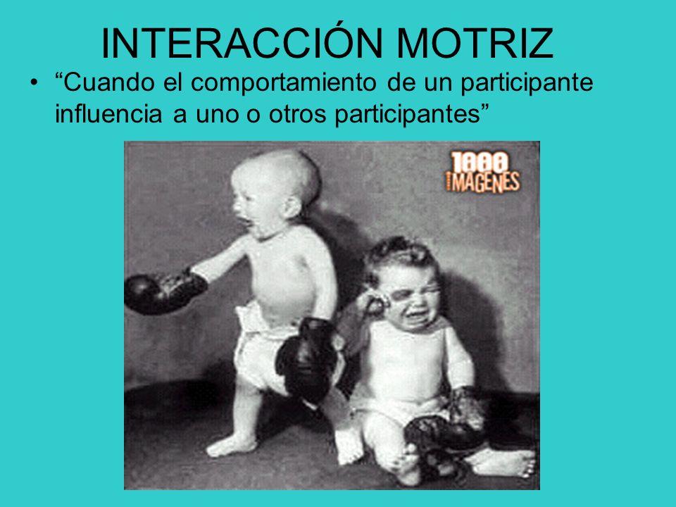 INTERACCIÓN MOTRIZ Cuando el comportamiento de un participante influencia a uno o otros participantes