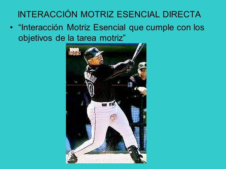 INTERACCIÓN MOTRIZ ESENCIAL DIRECTA Interacción Motriz Esencial que cumple con los objetivos de la tarea motriz