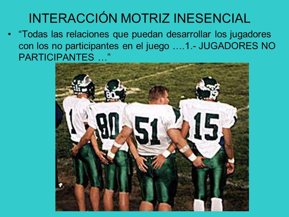 INTERACCIÓN MOTRIZ INESENCIAL Todas las relaciones que puedan desarrollar los jugadores con los no participantes en el juego ….1.- JUGADORES NO PARTICIPANTES …
