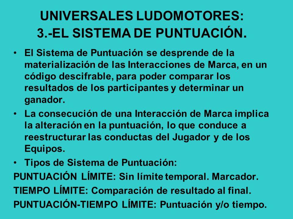 UNIVERSALES LUDOMOTORES: 3.-EL SISTEMA DE PUNTUACIÓN.