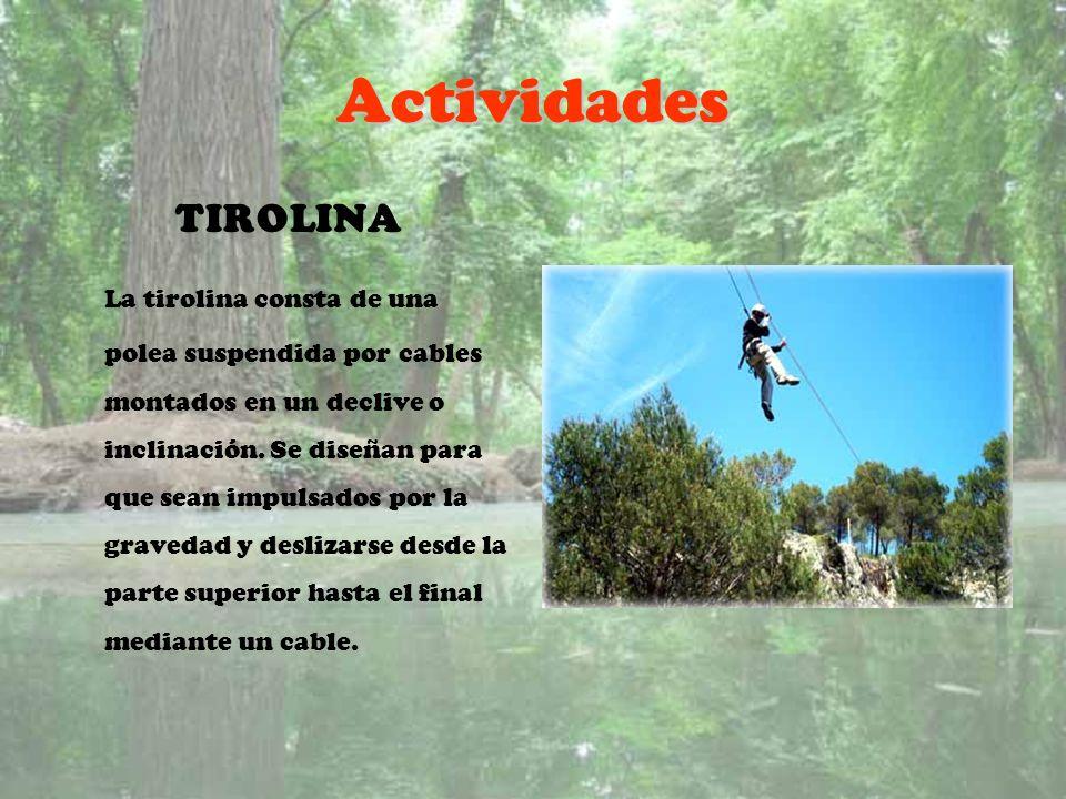 Actividades TIROLINA La tirolina consta de una polea suspendida por cables montados en un declive o inclinación. Se diseñan para que sean impulsados p