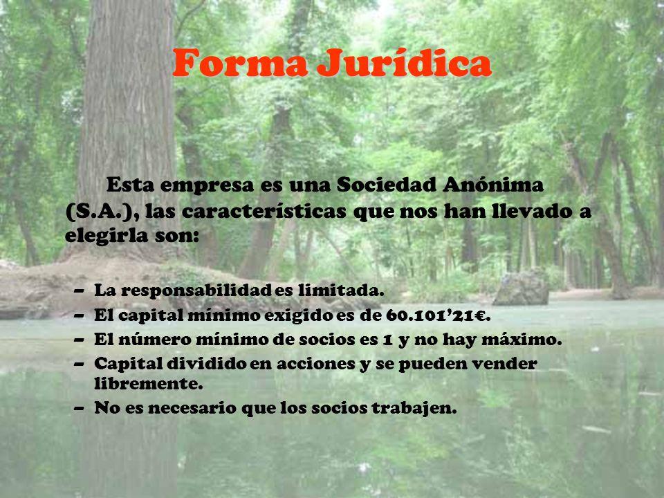 Forma Jurídica Esta empresa es una Sociedad Anónima (S.A.), las características que nos han llevado a elegirla son: –La responsabilidad es limitada. –