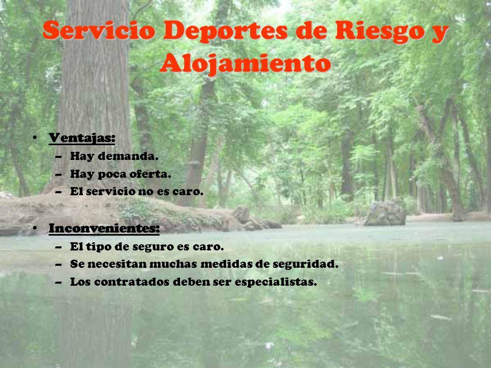 Servicio Deportes de Riesgo y Alojamiento Ventajas: –Hay demanda. –Hay poca oferta. –El servicio no es caro. Inconvenientes: –El tipo de seguro es car