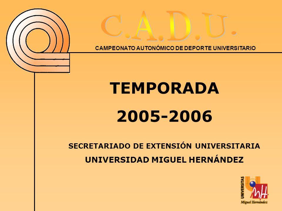 CAMPEONATO AUTONÓMICO DE DEPORTE UNIVERSITARIO TEMPORADA 2005-2006 SECRETARIADO DE EXTENSIÓN UNIVERSITARIA UNIVERSIDAD MIGUEL HERNÁNDEZ