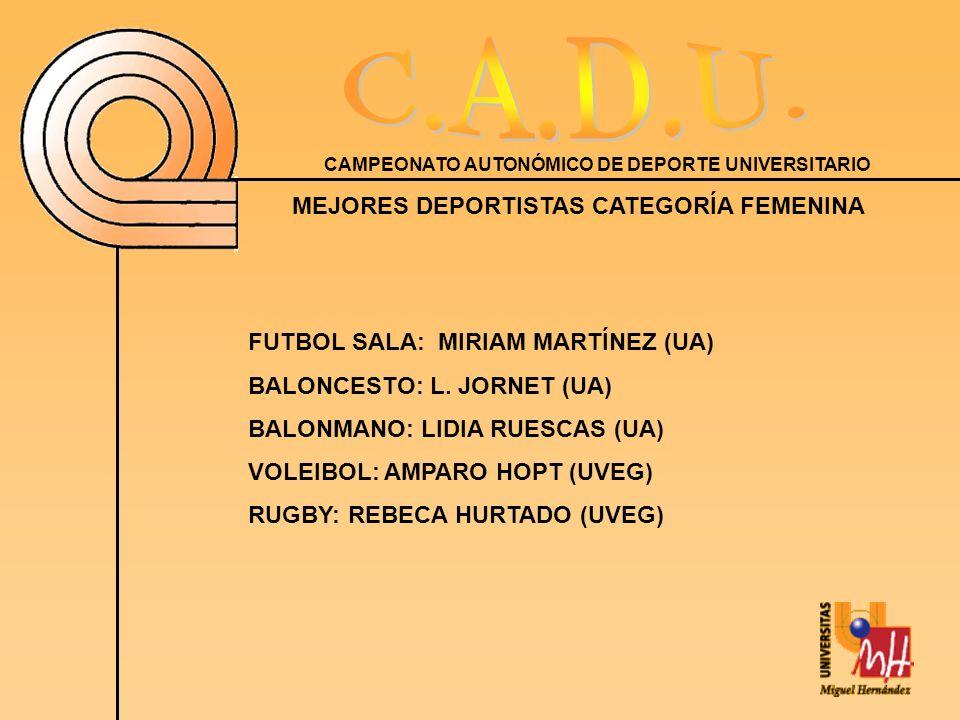 CAMPEONATO AUTONÓMICO DE DEPORTE UNIVERSITARIO MEJORES DEPORTISTAS CATEGORÍA FEMENINA FUTBOL SALA: MIRIAM MARTÍNEZ (UA) BALONCESTO: L.