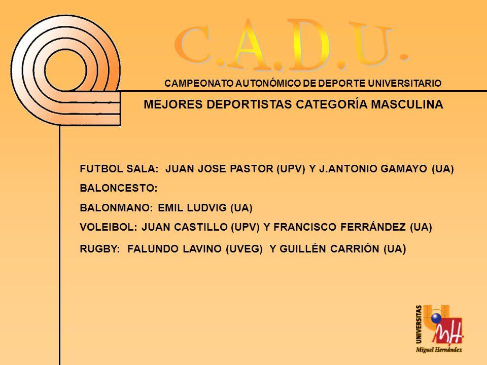 CAMPEONATO AUTONÓMICO DE DEPORTE UNIVERSITARIO MEJORES DEPORTISTAS CATEGORÍA MASCULINA FUTBOL SALA: JUAN JOSE PASTOR (UPV) Y J.ANTONIO GAMAYO (UA) BALONCESTO: BALONMANO: EMIL LUDVIG (UA) VOLEIBOL: JUAN CASTILLO (UPV) Y FRANCISCO FERRÁNDEZ (UA) RUGBY: FALUNDO LAVINO (UVEG) Y GUILLÉN CARRIÓN (UA )