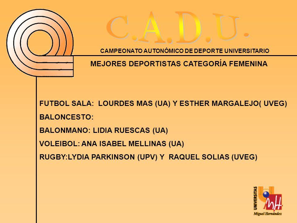 CAMPEONATO AUTONÓMICO DE DEPORTE UNIVERSITARIO MEJORES DEPORTISTAS CATEGORÍA FEMENINA FUTBOL SALA: LOURDES MAS (UA) Y ESTHER MARGALEJO( UVEG) BALONCESTO: BALONMANO: LIDIA RUESCAS (UA) VOLEIBOL: ANA ISABEL MELLINAS (UA) RUGBY:LYDIA PARKINSON (UPV) Y RAQUEL SOLIAS (UVEG)
