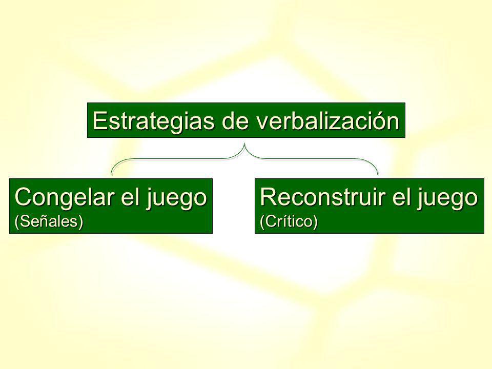 Estrategias de verbalización Congelar el juego (Señales) Reconstruir el juego (Crítico)