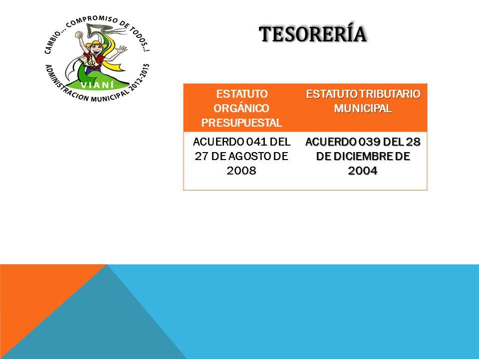 TESORERÍATESORERÍA ESTATUTO ORGÁNICO PRESUPUESTAL ESTATUTO TRIBUTARIO MUNICIPAL ACUERDO 041 DEL 27 DE AGOSTO DE 2008 ACUERDO 039 DEL 28 DE DICIEMBRE D