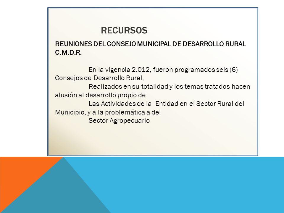 RECURSOS REUNIONES DEL CONSEJO MUNICIPAL DE DESARROLLO RURAL C.M.D.R. En la vigencia 2.012, fueron programados seis (6) Consejos de Desarrollo Rural,