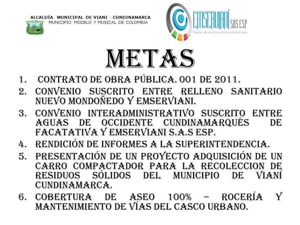 metas 1. contrato de obra pública. 001 de 2011. 2.convenio suscrito entre relleno sanitario nuevo Mondoñedo y Emserviani. 3.convenio interadministrati