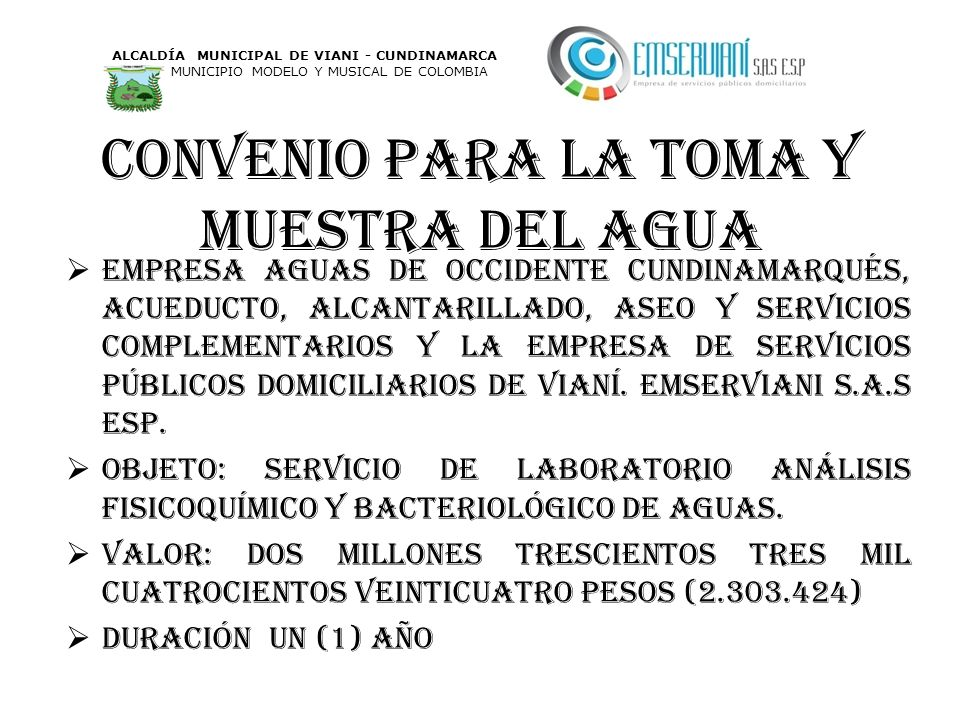 Convenio para la toma y muestra del agua Empresa aguas de occidente cundinamarqués, acueducto, alcantarillado, aseo y servicios complementarios y la e