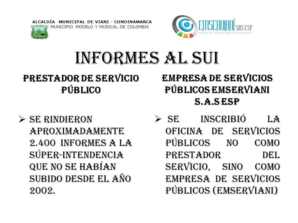 Informes al sui Prestador de servicio PÚBLICO Se rindieron aproximadamente 2.400 informes a la súper-intendencia que no se habían subido desde el año