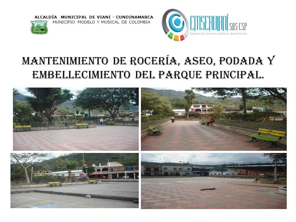 Mantenimiento de rocería, aseo, podada y embellecimiento del parque principal. ALCALDÍA MUNICIPAL DE VIANI - CUNDINAMARCA MUNICIPIO MODELO Y MUSICAL D