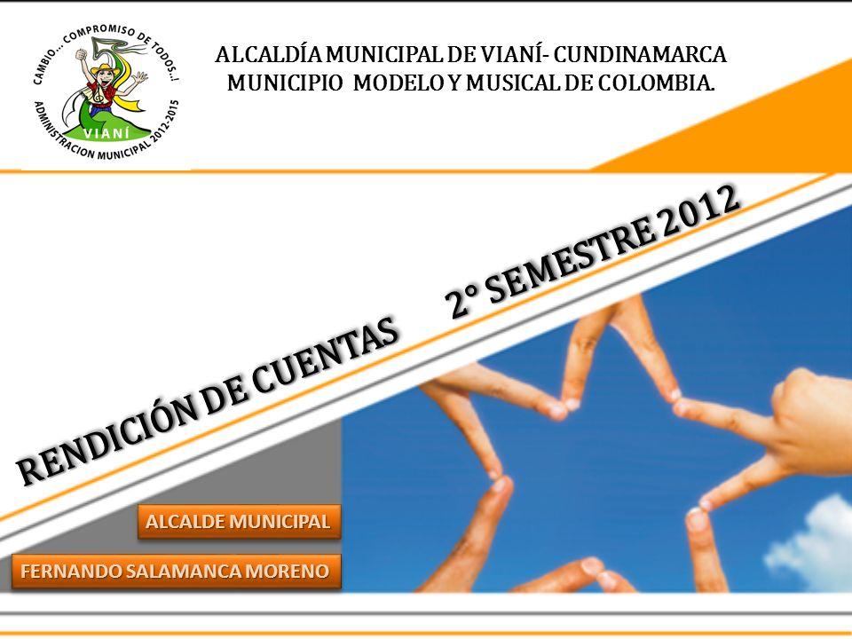 ALCALDÍA MUNICIPAL DE VIANÍ- CUNDINAMARCA MUNICIPIO MODELO Y MUSICAL DE COLOMBIA. FERNANDO SALAMANCA MORENO ALCALDE MUNICIPAL