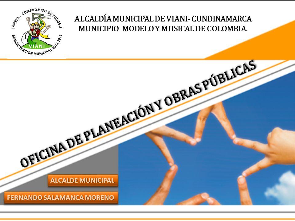 ALCALDÍA MUNICIPAL DE VIANI- CUNDINAMARCA MUNICIPIO MODELO Y MUSICAL DE COLOMBIA. FERNANDO SALAMANCA MORENO ALCALDE MUNICIPAL OFICINA DE PLANEACIÓN Y