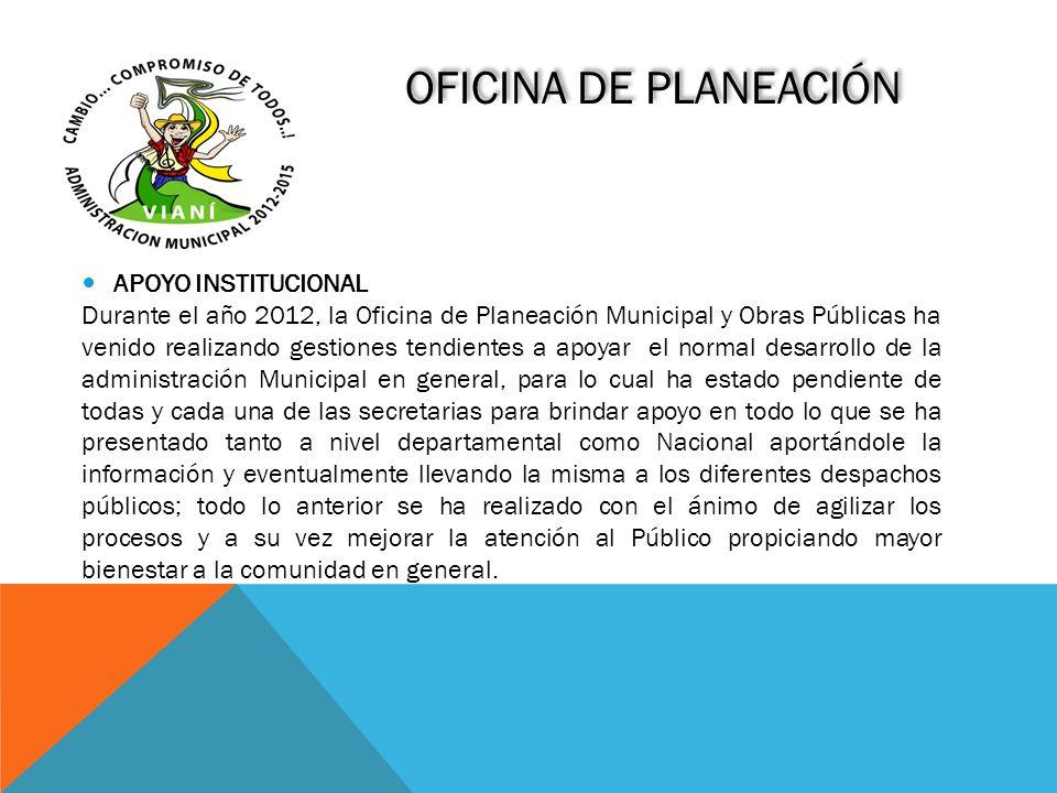 OFICINA DE PLANEACIÓN APOYO INSTITUCIONAL Durante el año 2012, la Oficina de Planeación Municipal y Obras Públicas ha venido realizando gestiones tend