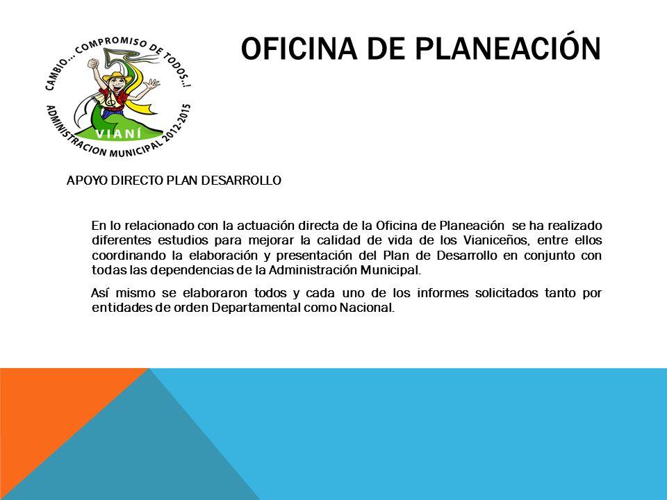 OFICINA DE PLANEACIÓN APOYO DIRECTO PLAN DESARROLLO En lo relacionado con la actuación directa de la Oficina de Planeación se ha realizado diferentes