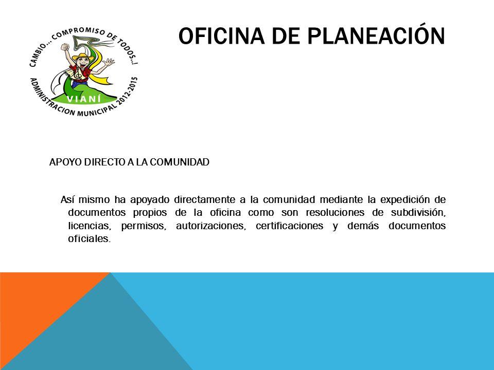 OFICINA DE PLANEACIÓN APOYO DIRECTO A LA COMUNIDAD Así mismo ha apoyado directamente a la comunidad mediante la expedición de documentos propios de la